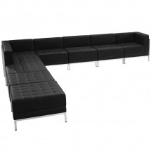 Flash Furniture ZB-IMAG-SECT-SET11-GG HERCULES Imagination Series Black Leather Sectional Configuration, 9 Piece