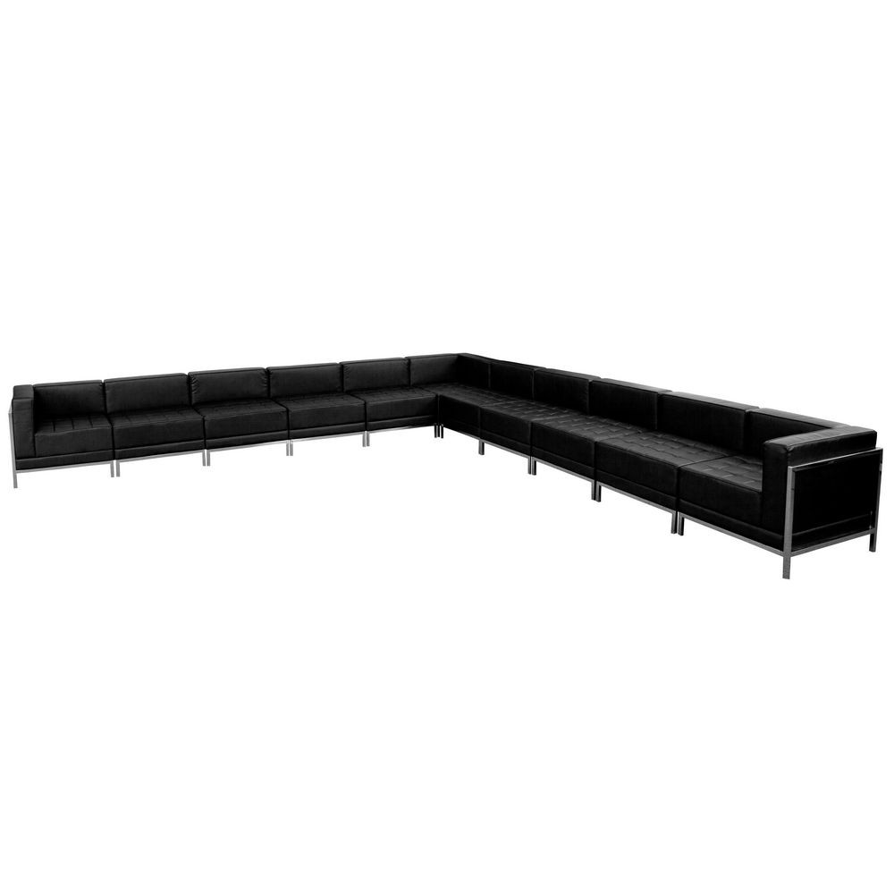 Flash Furniture ZB-IMAG-SECT-SET2-GG HERCULES Imagination Series Black Leather Sectional Configuration, 11 Piece
