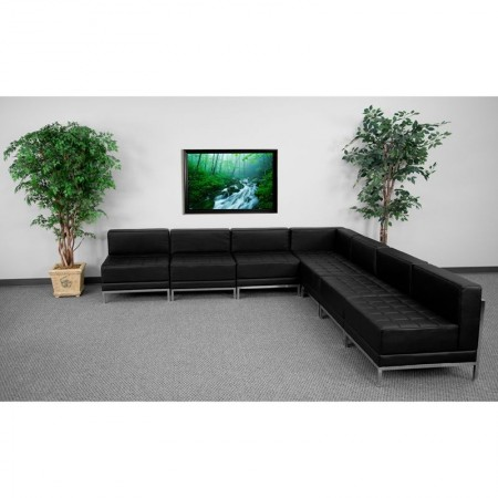 Flash Furniture ZB-IMAG-SECT-SET6-GG HERCULES Imagination Series Black Leather Sectional Configuration, 7 Piece