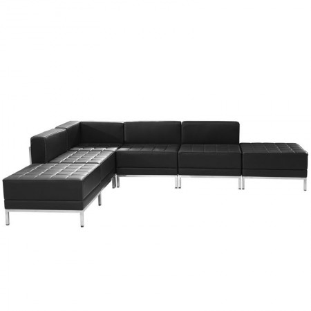 Flash Furniture ZB-IMAG-SECT-SET8-GG HERCULES Imagination Series Black Leather Sectional Configuration, 6 Piece