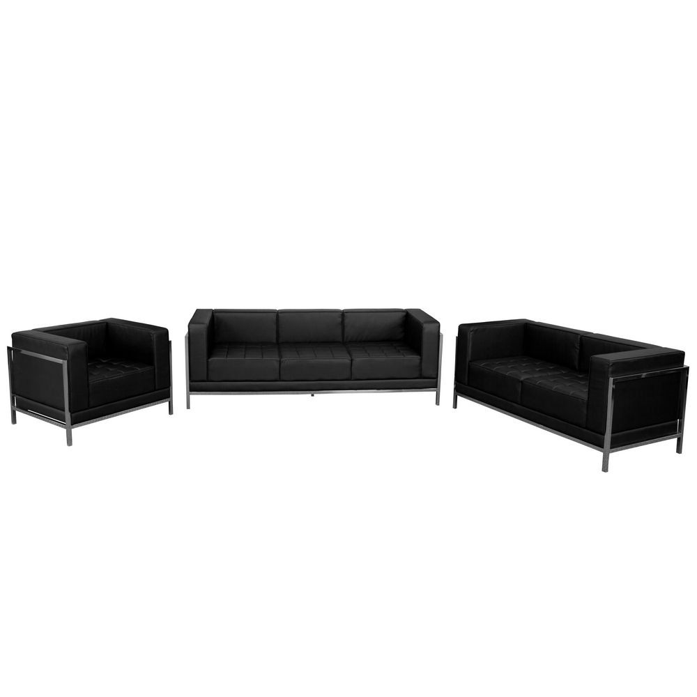 Flash Furniture ZB-IMAG-SET1-GG HERCULES Imagination Series Black Leather Sofa Set, 3 Piece