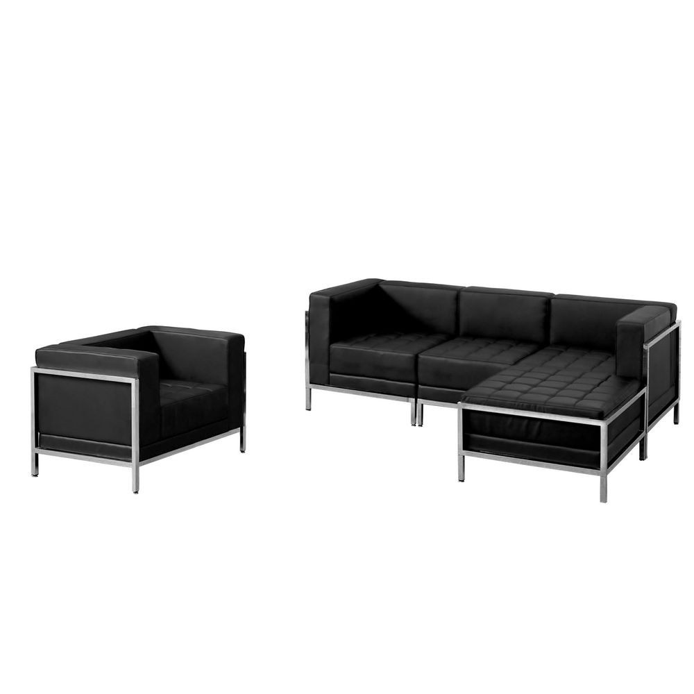 Flash Furniture ZB-IMAG-SET12-GG HERCULES Imagination Series Black Leather Sectional and Chair, 5 Piece