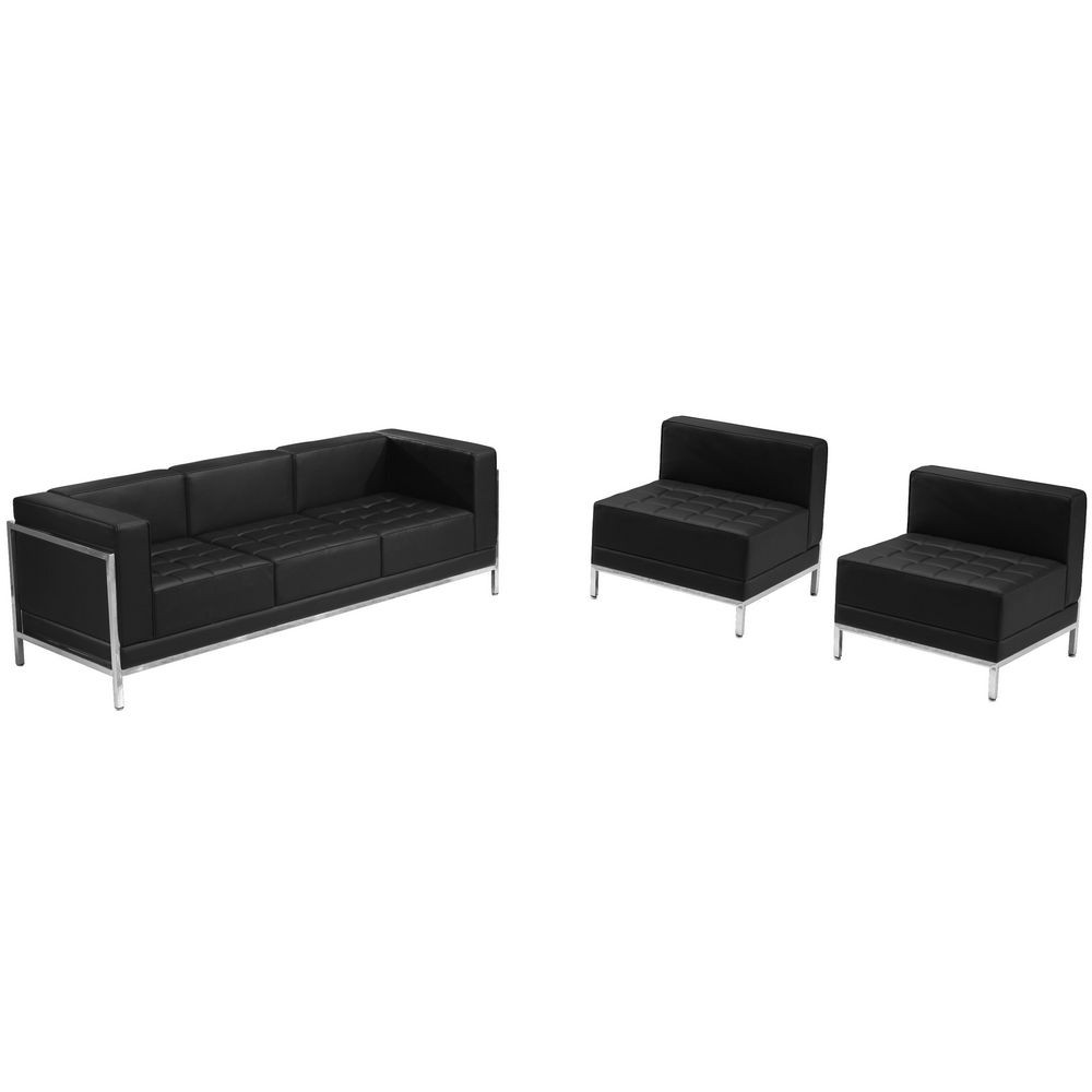 Flash Furniture ZB-IMAG-SET13-GG HERCULES Imagination Series Black Leather Sofa and Chair Set