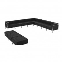 Flash Furniture ZB-IMAG-SET18-GG HERCULES Imagination Series Black Leather Sectional and Ottoman Set, 12 Piece