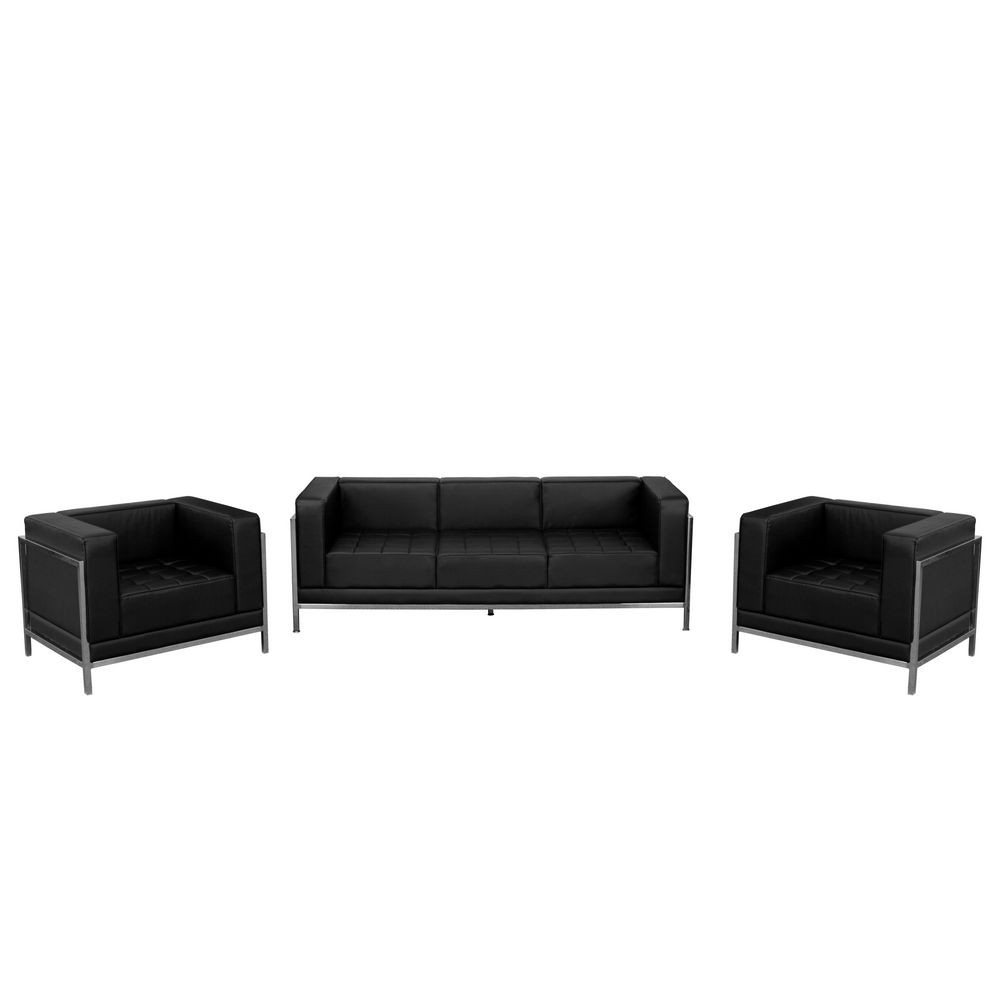 Flash Furniture ZB-IMAG-SET3-GG HERCULES Imagination Series Black Leather Sofa and Chair Set