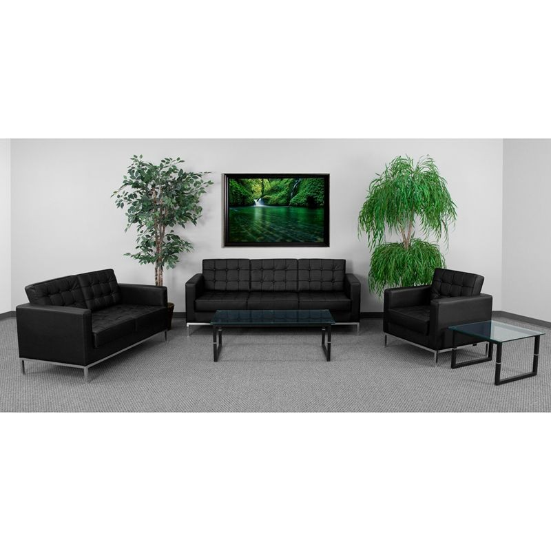 Flash Furniture ZB-LACEY-831-2-SET-BK-GG HERCULES Lacey Series Black Reception Set
