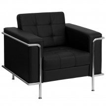 Flash Furniture ZB-LESLEY-8090-CHAIR-BK-GG HERCULES Lesley Series Contemporary Black Leather Chair with Encasing Frame