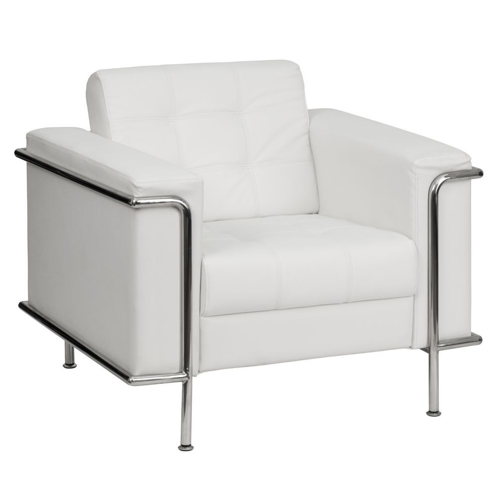 Flash Furniture ZB-LESLEY-8090-CHAIR-WH-GG HERCULES Lesley Series Contemporary White Leather Chair with Encasing Frame