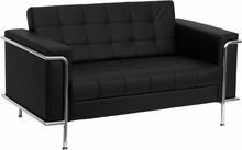 Flash Furniture ZB-LESLEY-8090-LS-BK-GG HERCULES Lesley Series Contemporary Black Leather Love Seat with Encasing Frame