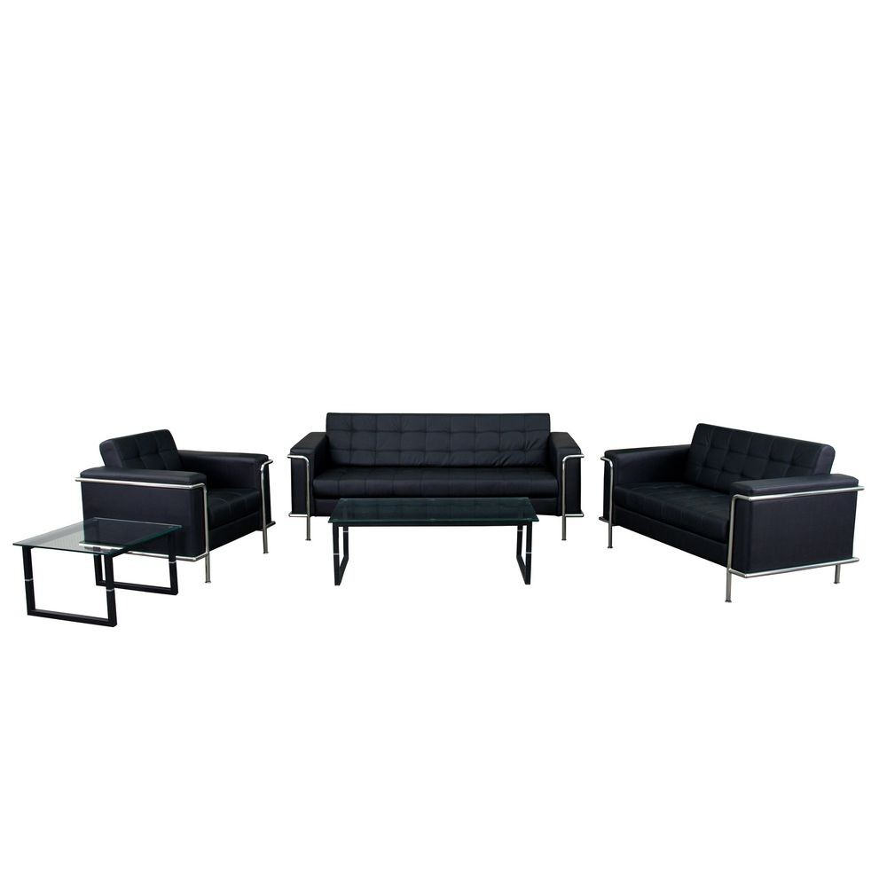 Flash Furniture ZB-LESLEY-8090-SET-BK-GG HERCULES Lesley Series Black Reception Set