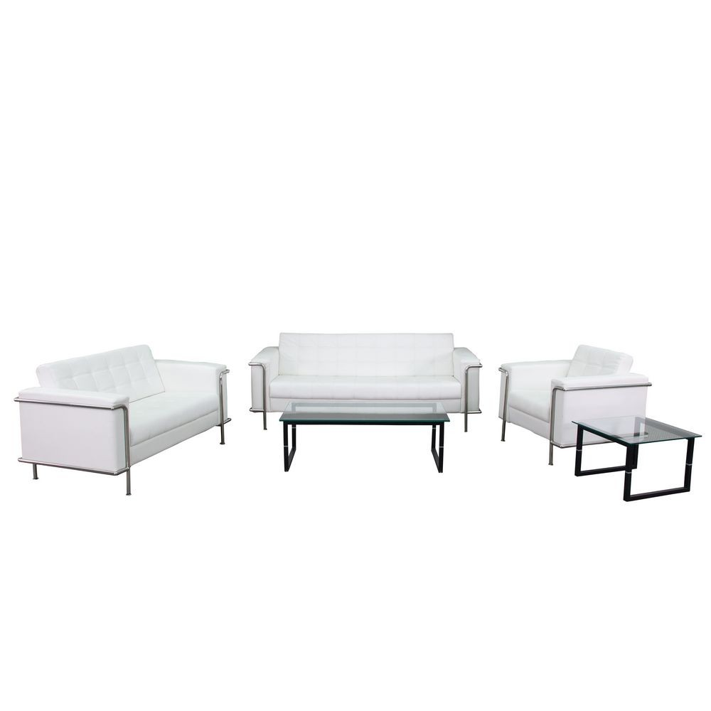 Flash Furniture ZB-LESLEY-8090-SET-WH-GG HERCULES Lesley Series White Reception Set