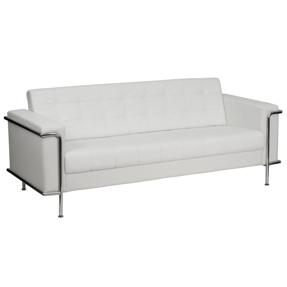 Flash Furniture ZB-LESLEY-8090-SOFA-WH-GG HERCULES Lesley Series Contemporary White Leather Sofa with Encasing Frame