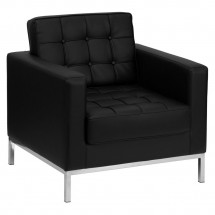 Flash Furniture ZB-Lacey-831-2-CHAIR-BK-GG HERCULES Lacey Series Contemporary Black Leather Chair with Stainless Steel Frame