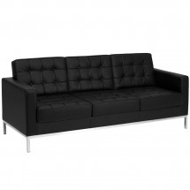 Flash Furniture ZB-Lacey-831-2-SOFA-BK-GG HERCULES Lacey Series Contemporary Black Leather Sofa with Stainless Steel Frame