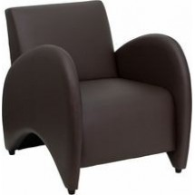 Flash Furniture ZB-Patrician-BROWN-GG HERCULES Patrician Series Brown Leather Reception Chair