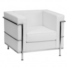Flash Furniture ZB-REGAL-810-1-CHAIR-WH-GG HERCULES Regal Series Contemporary White Leather Chair with Encasing Frame