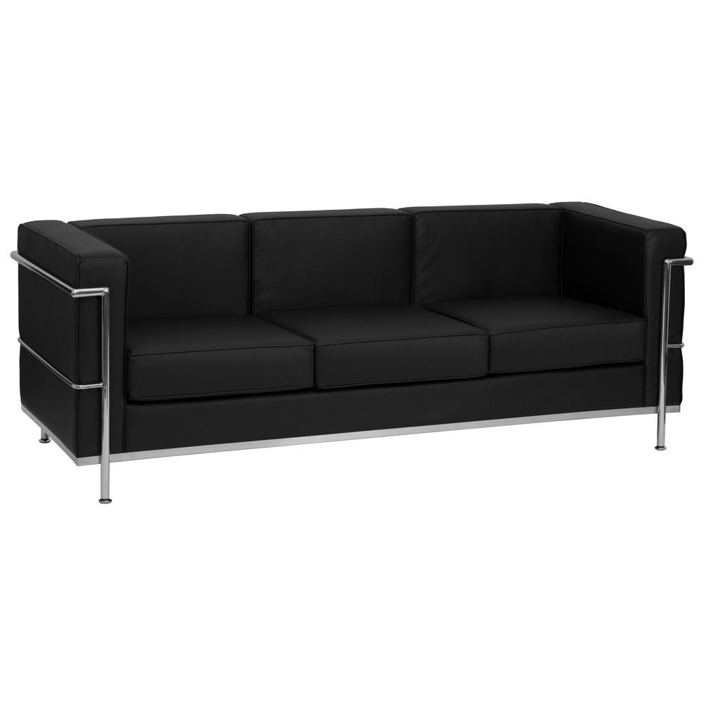 Flash Furniture ZB-REGAL-810-3-SOFA-BK-GG HERCULES Regal Series Contemporary Black Leather Sofa with Encasing Frame