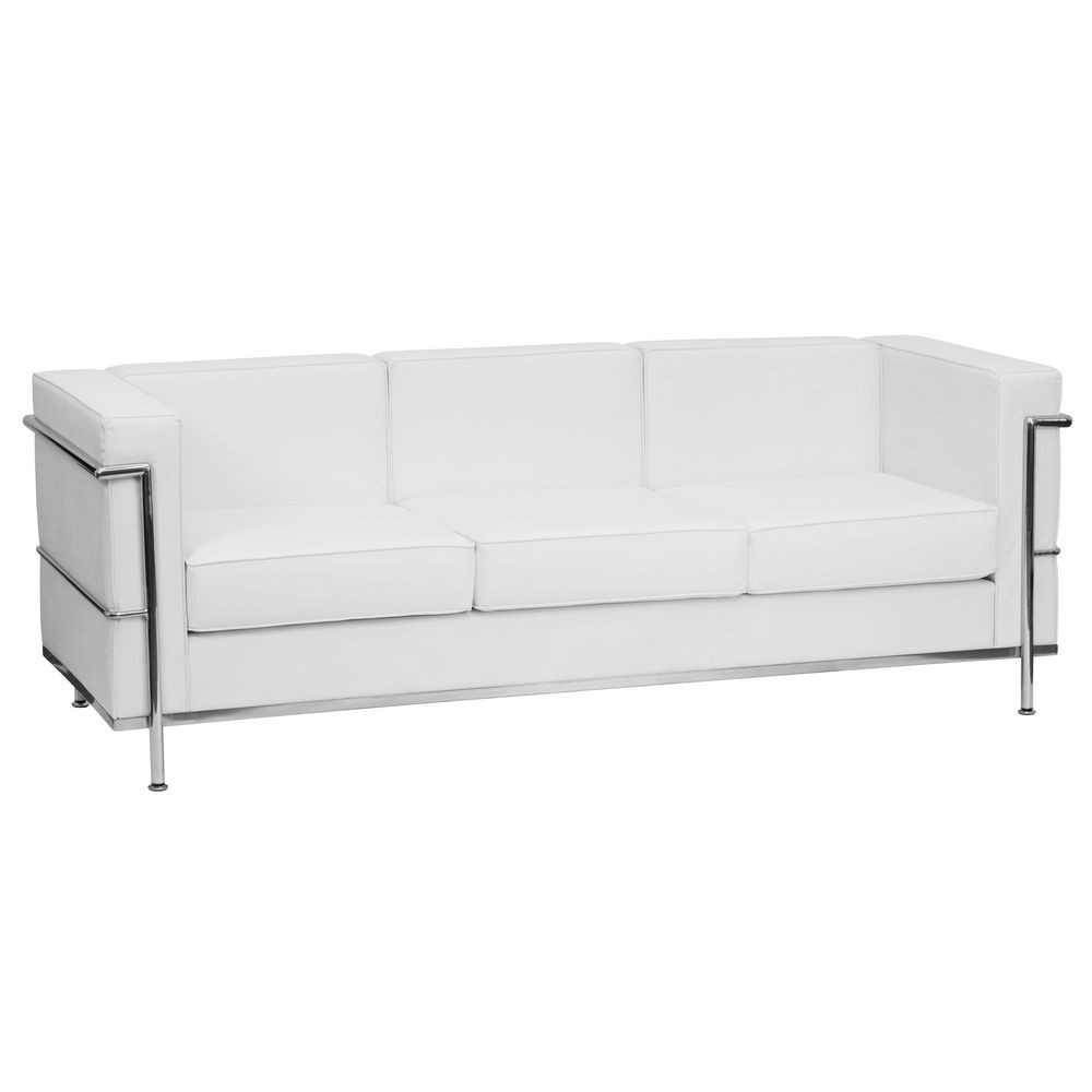 Flash Furniture ZB-REGAL-810-3-SOFA-WH-GG HERCULES Regal Series Contemporary White Leather Sofa with Encasing Frame