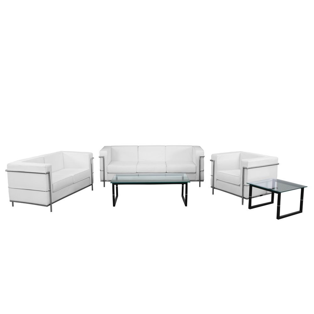 Flash Furniture ZB-REGAL-810-SET-WH-GG HERCULES Regal Series White Reception Set