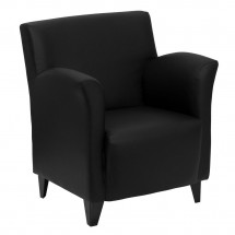 Flash Furniture ZB-ROMAN-BLACK-GG HERCULES Roman Series Black Leather Reception Chair