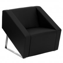 Flash Furniture ZB-SMART-BLACK-GG HERCULES Smart Series Black Leather Reception Chair