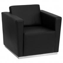Flash Furniture ZB-TRINITY-8094-CHAIR-BK-GG HERCULES Trinity Series Contemporary Black Leather Chair with Stainless Steel Base