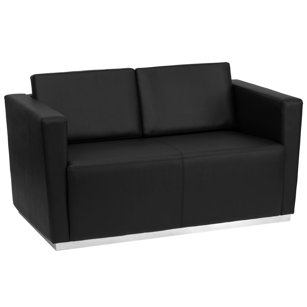 Flash Furniture ZB-TRINITY-8094-LS-BK-GG HERCULES Trinity Series Contemporary Black Leather Love Seat with Stainless Steel Base