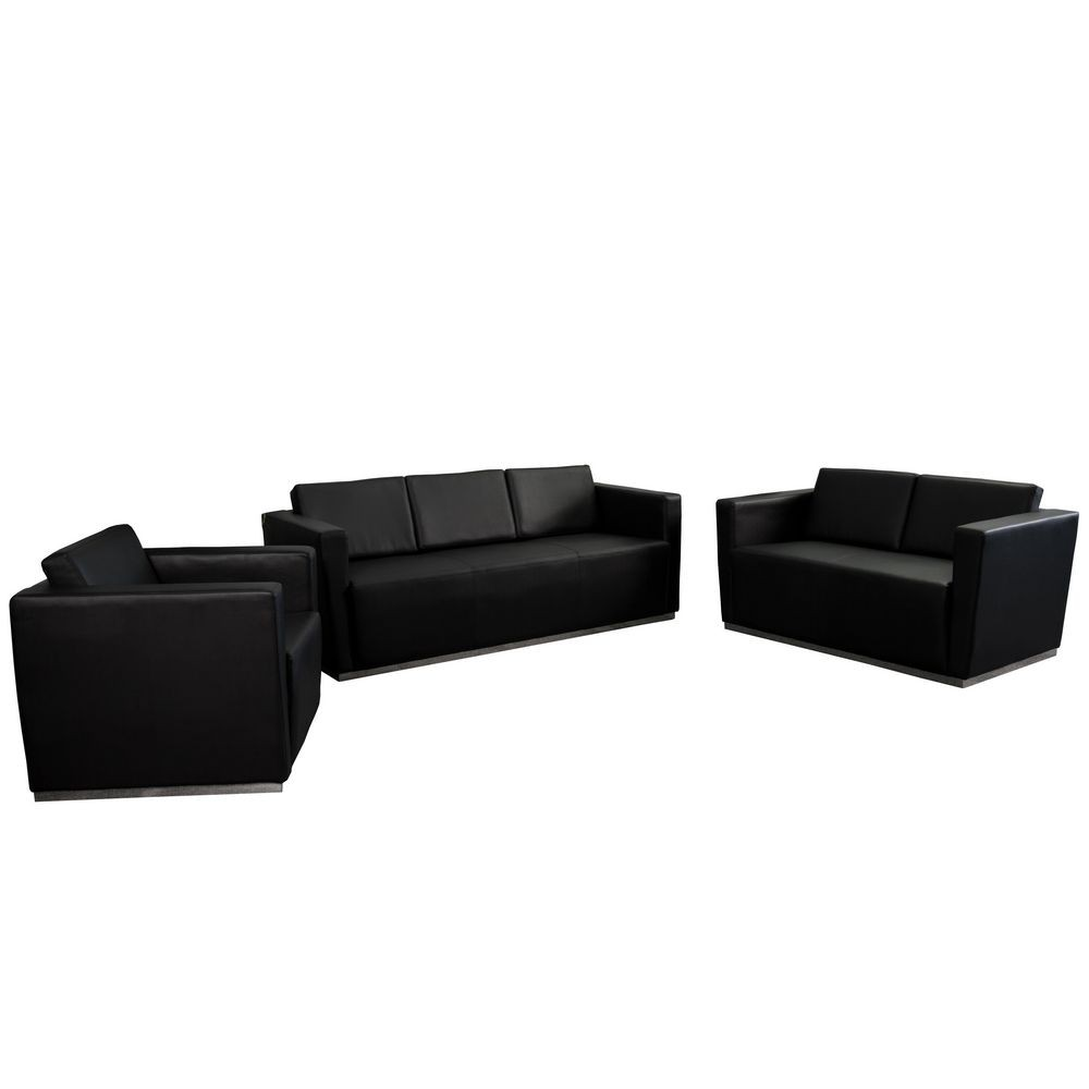 Flash Furniture ZB-TRINITY-8094-SET-BK-GG HERCULES Trinity Series Black Reception Set