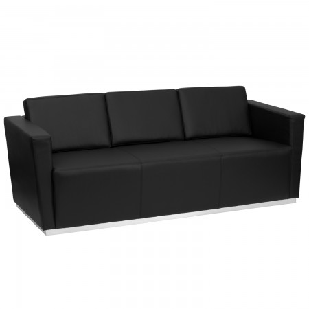 Flash Furniture ZB-TRINITY-8094-SOFA-BK-GG HERCULES Trinity Series Contemporary Black Leather Sofa with Stainless Steel Base