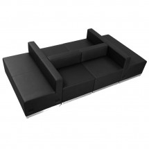 Flash Furniture ZB-803-650-SET-BK-GG HERCULES Alon Series Black Leather Reception Configuration, 6 Piece