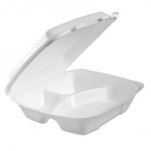 Dart Foam Hinged Lid Containers, White, , 9 x 9 2/5 x 3,  200/Carton