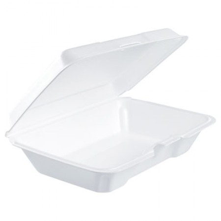 Foam Hinged Lid Containers, 6.4w x 9.3d x 2.6h, White, 200/Carton