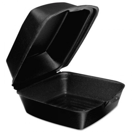 Foam Hinged Lid Containers, 6w x 5 9/10d x 3h, Black, 125/Bag, 4 Bags/Carton