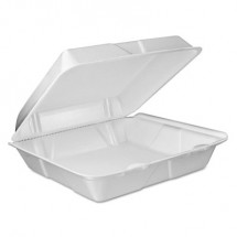 Dart Foam Vented Hinged Lid Containers, White, 9w x 9 2/5d x 3h,  200/Carton