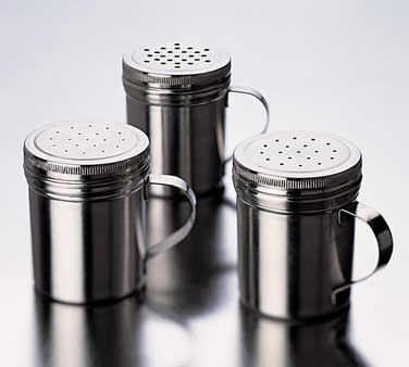 Focus Foodservice 862CS Stainless Steel Dredge / Shaker with Small Holes 10 oz. - 4 pcs