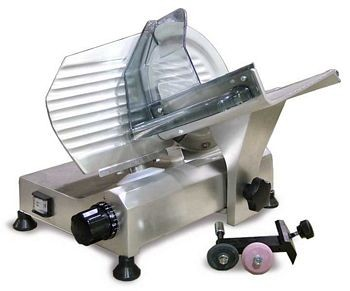 "Omcan (FMA) 195F 8"" Manual Meat Slicer with Removable Blade Sharpener"