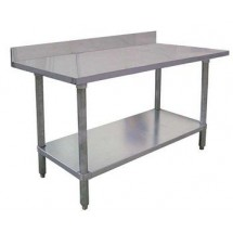 "Omcan (FMA) 22083 Stainless Steel Work Table with 4"" Backsplash 72"" W x 24"" D"
