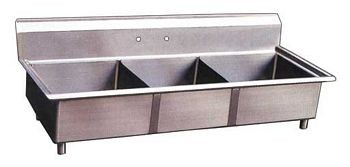 Omcan (FMA) 22114 Three Compartment Pot Sink, No Drain Board
