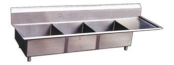 Omcan (FMA) 22116 Three Compartment Pot Sink With Right Drain Board