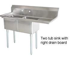 Omcan (FMA) 25251 Two Compartment Pot Sink With Right Drain Board
