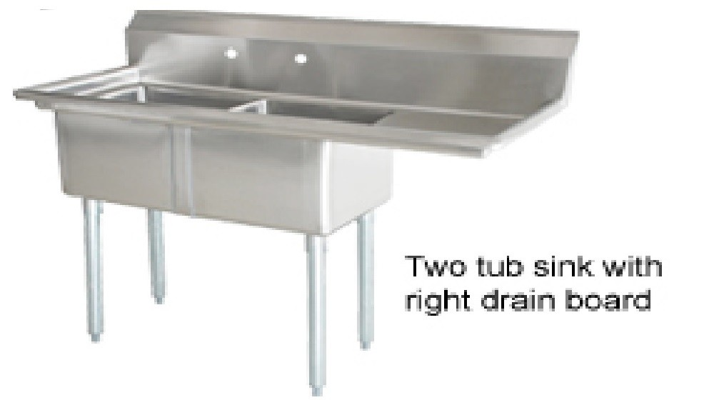 Omcan (FMA) 25257 Two Compartment Pot Sink With Right Drain Board