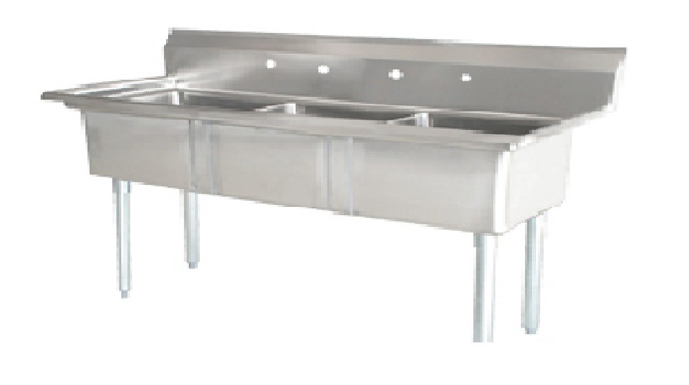 Omcan (FMA) 25260 Three Compartment Pot Sink With Right Drain Board