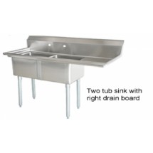 Omcan (FMA) 25268 Two Compartment Pot Sink With Right Drain Board