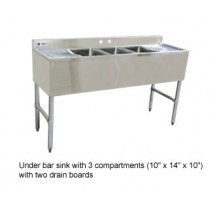 Omcan (FMA) 25274 Three Compartment Underbar Sink Units With Left and Right Drain Boards