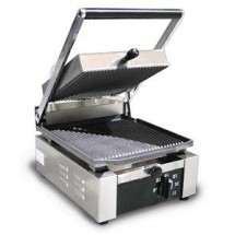 "Omcan (FMA) 11375 Single Panini Grill with Grooved Top and Bottom 10"" x 9"""