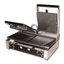 "Omcan (FMA) 11378 Double Panini Grill with Grooved Top and Bottom 10"" x 19"""