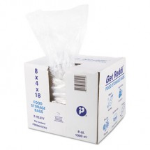 """Food and Utility Bags, 8 qt, 1.2 mil, 8"""" x 18"""", Clear, 1000/Carton"""