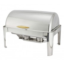 Full Size Stainless Steel Roll-Top Chafer 8 Qt. With Gold Handle