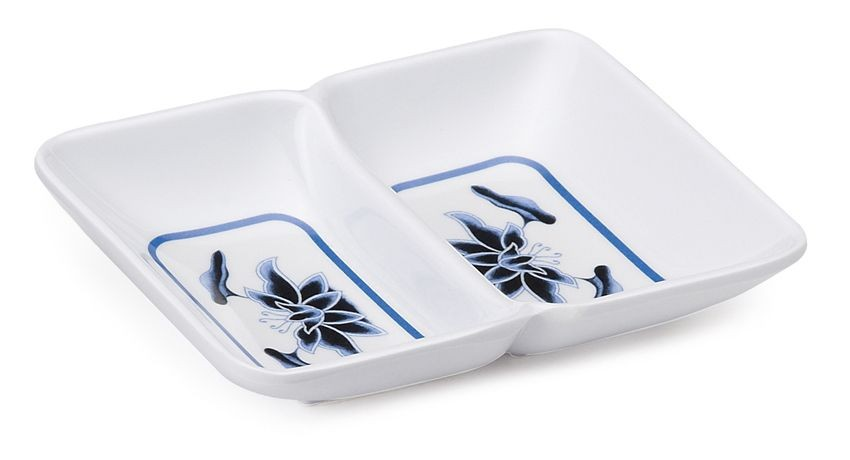GET Enterprises 037-B Water Lily Two Compartment Melamine Sauce Dish 2 oz.