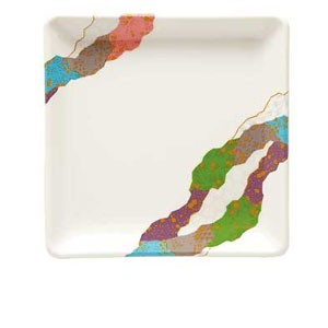 "GET Enterprises 252-18-CO Contemporary Melamine Square Plate 7"" x 7"" - 1 doz"
